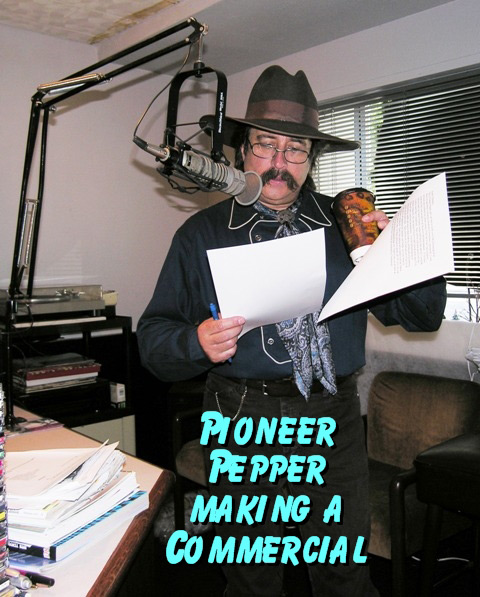 Pioneer Pepper making a radio commercial