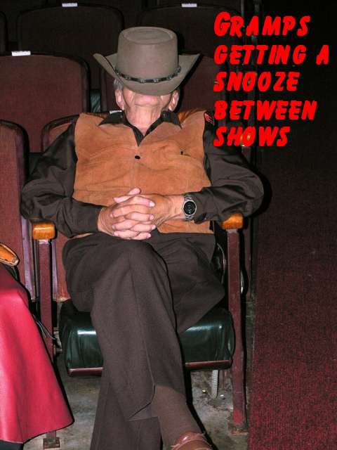 Gramps of The Sunset Pioneers takes a snooze between takes