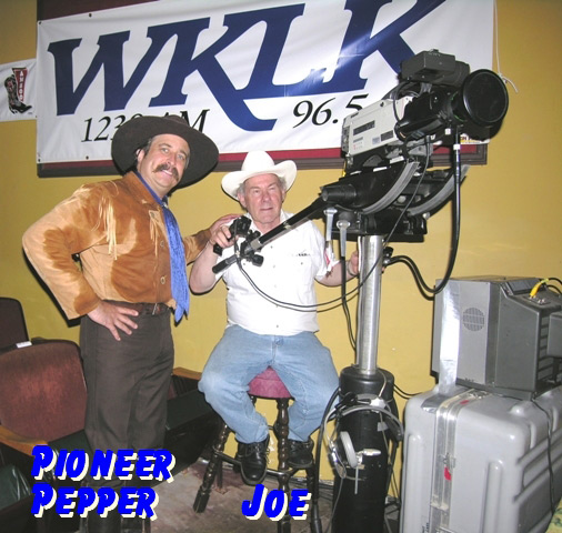 Pioneer Pepper with film crew of Midwest Country TV Show