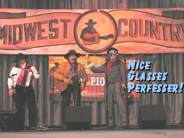 Perfesser of The Sunset Pioneers hams it up for TV Perfesser & Dusty of The Sunset Pioneers