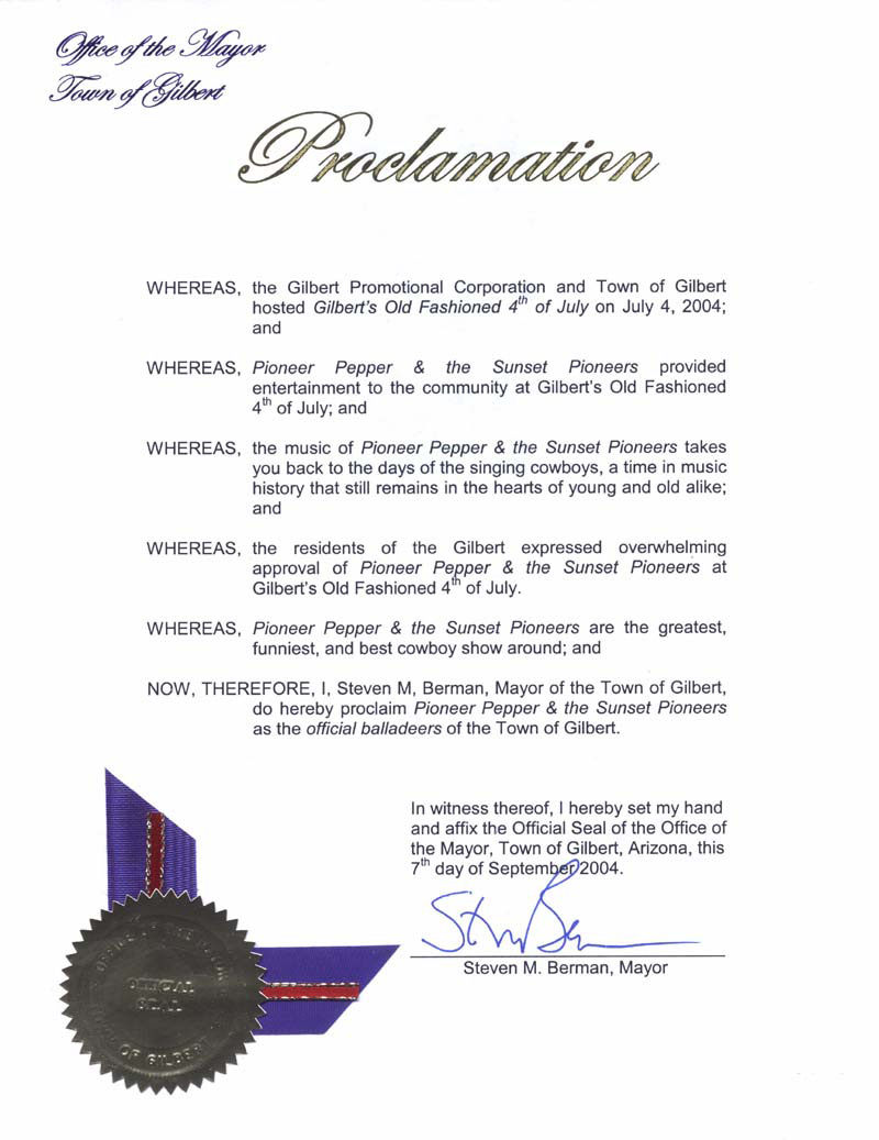 Proclaimation of Mayor Steve Berman, Town of Gilbert, Arizona